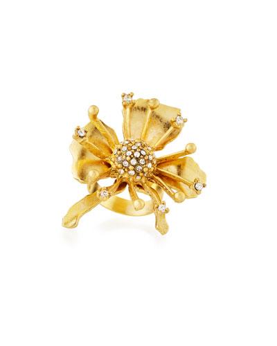 Golden Crystal Flower Burst Ring