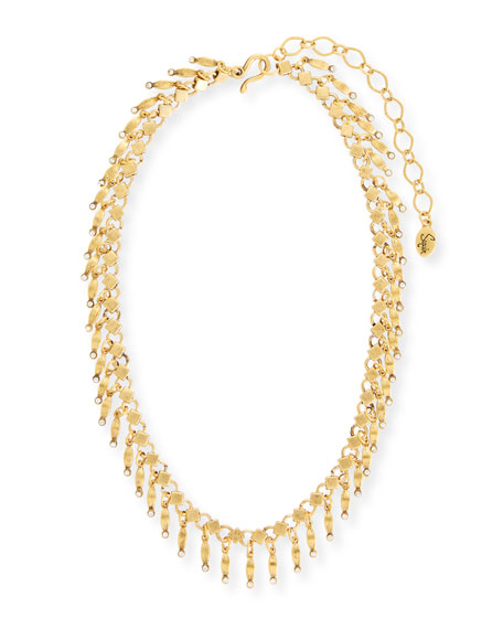Golden Dangle Statement Necklace