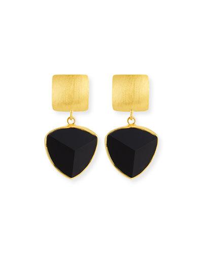 Pyramid Onyx Drop Earrings