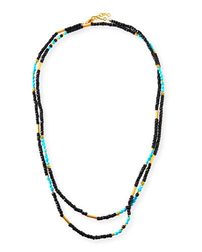 Sleeping Beauty Turquoise & Onyx Beaded Necklace