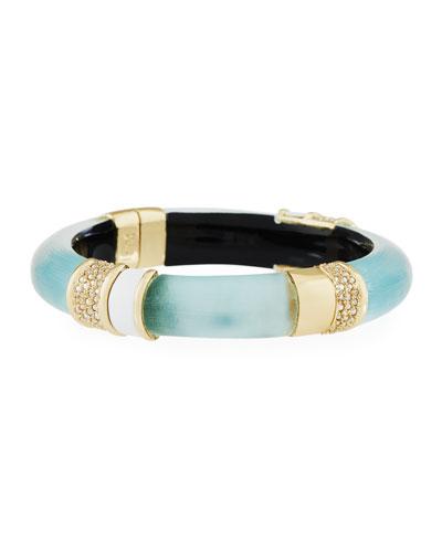 Crystal-Encrusted Lucite Hinge Bracelet