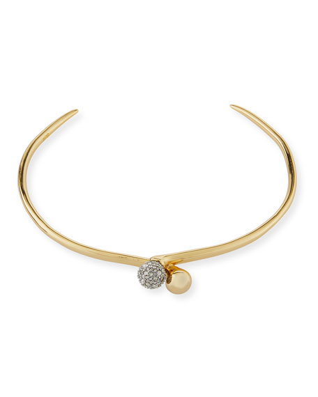 Narrow Choker Necklace with Pave Crystal Ball