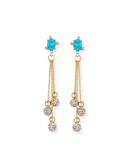 Alexis Bittar Crystal Ball Drop Earrings, Golden/Turquoise