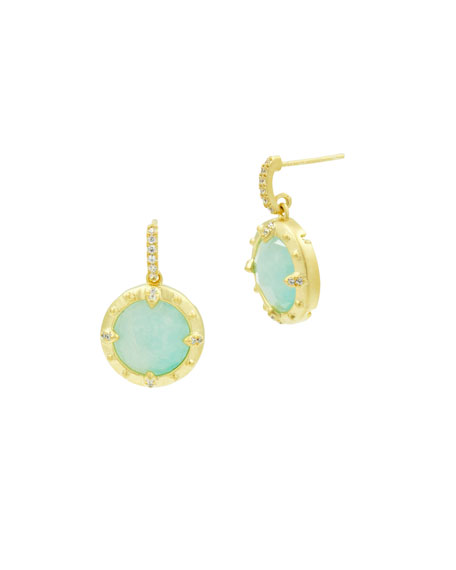 Petite Circle Drop Earrings, Golden/Turquoise