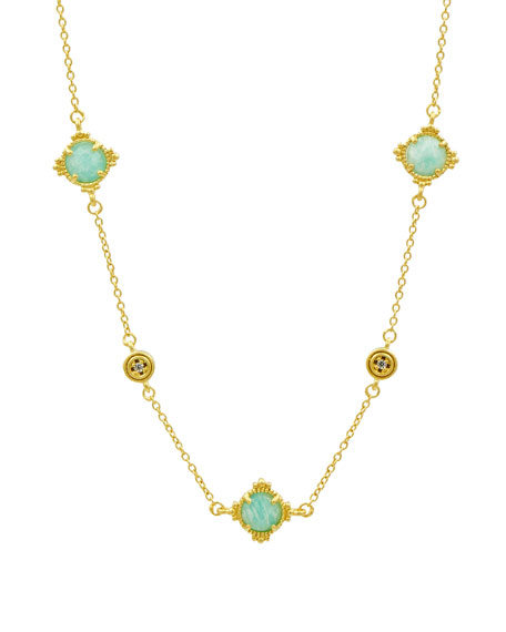Mixed Station Necklace, Golden/Turquoise