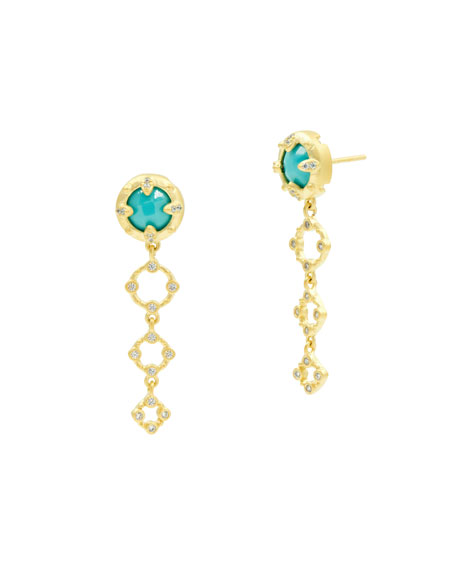 Freida Rothman Graduated Round Drop Earrings, Golden/Turquoise