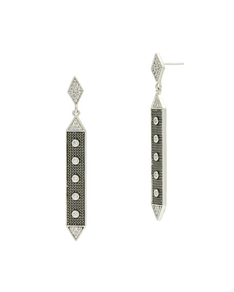 Linear Hammered Drop Earrings