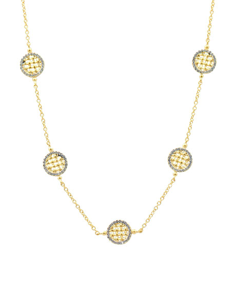 Freida Rothman Lattice Motif Circle Trellis Station Necklace