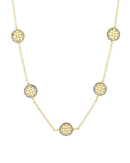 Lattice Motif Circle Trellis Station Necklace