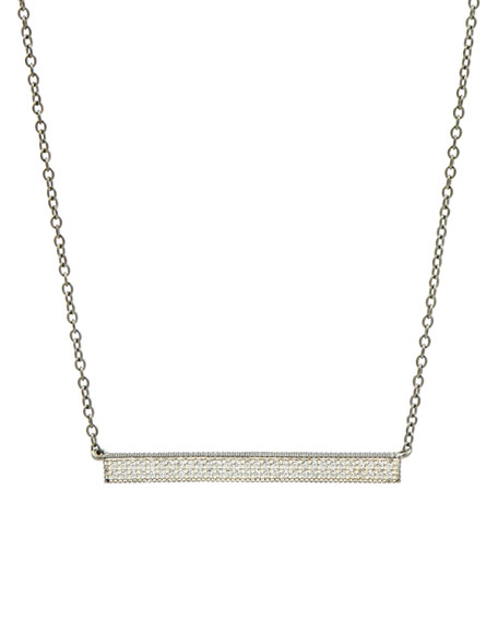 Pavé Cubic Zirconia Bar Necklace