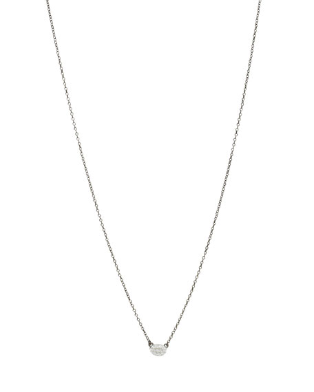 Tiny Pave Oval Disc Necklace w/Black Chain