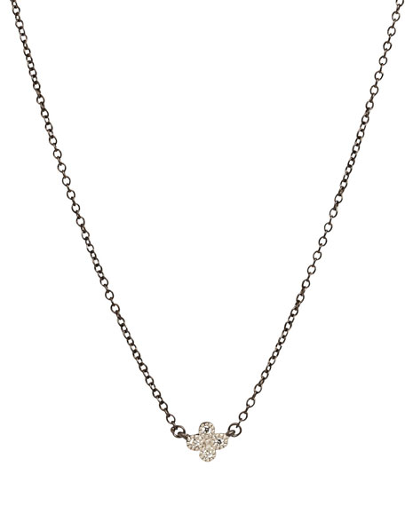 Mini Clover Necklace w/Black Chain