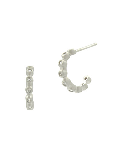 Bezel Crystal Huggie Hoop Earrings, White