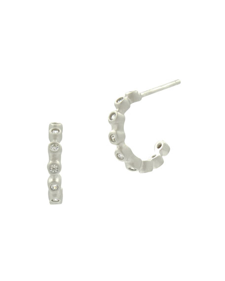 Freida Rothman Bezel Crystal Huggie Hoop Earrings, White