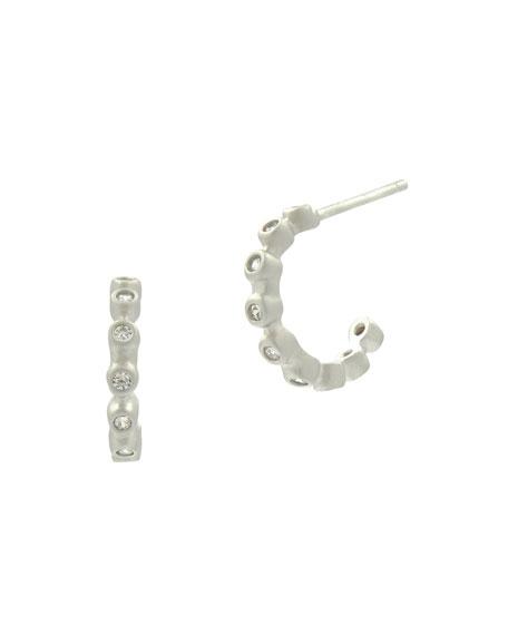 Bezel Crystal Huggie Hoop Earrings, White