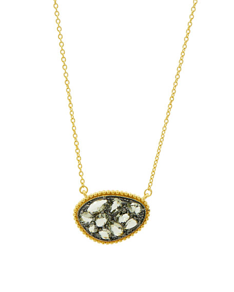 Textured Pebble CZ Stones Pendant Necklace