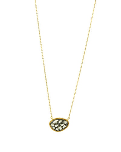 Textured Pebble CZ Stones Pendant Necklace