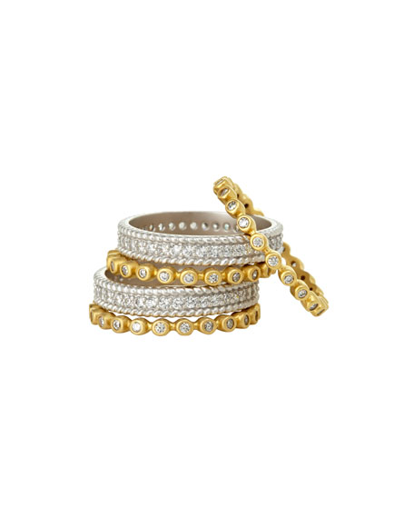 Five-Row Pavé CZ Stones Stacking Ring