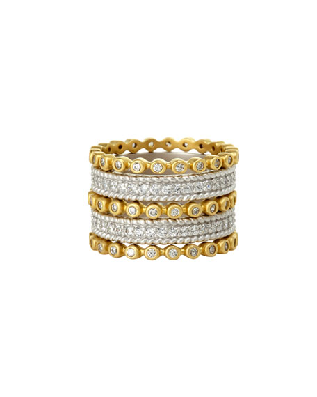 Five-Row Pave CZ Stones Stacking Ring
