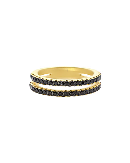 Freida Rothman Pavé Black CZ Stones Two-Row Band