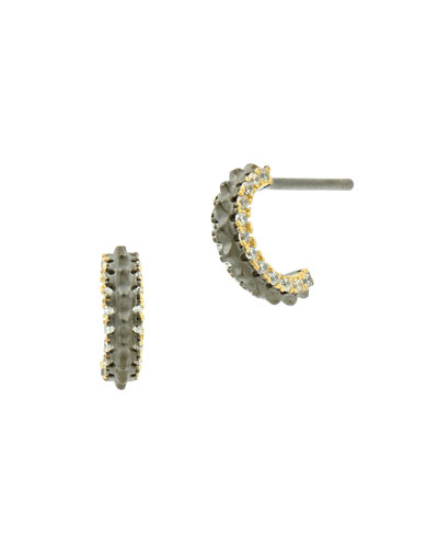 Pavé Crystal Gear Huggie Hoop Earrings, Black/Golden