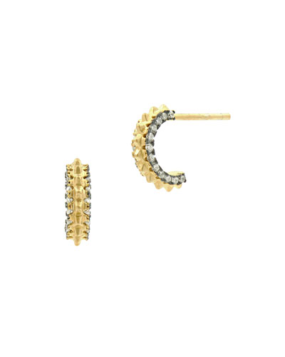 Pavé Crystal Gear Huggie Hoop Earrings, Golden