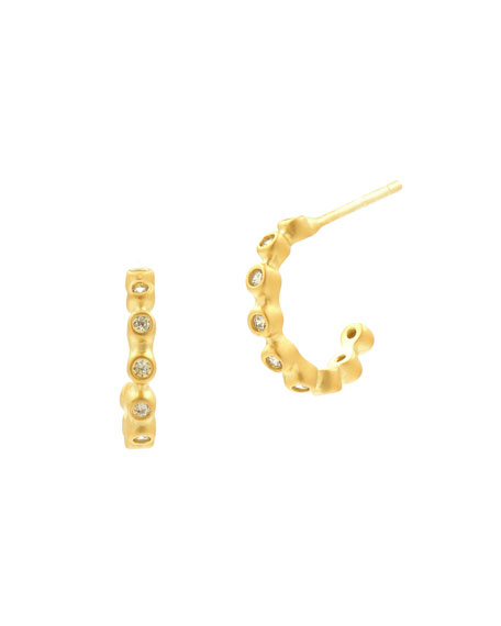 Bezel Crystal Huggie Hoop Earrings, Golden