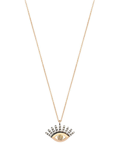 14k Rose Gold Protect Me Evil Eye Diamond Necklace  Champagne