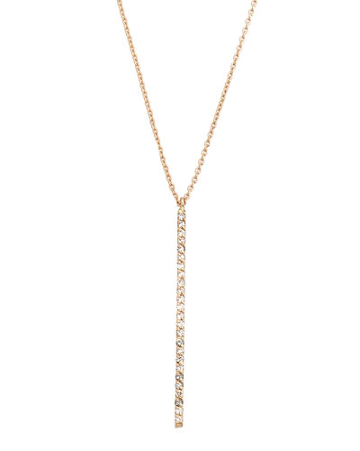 Lumiere 14k Rose Gold Diamond Stick Pendant Necklace  White