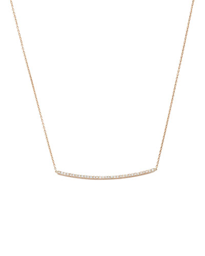 Lumiere 14k Rose Gold Diamond Curved Bar Necklace