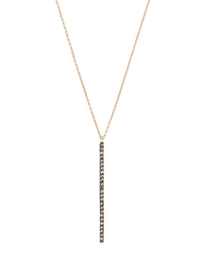 Lumiere 14k Rose Gold Diamond Stick Pendant Necklace  Champagne