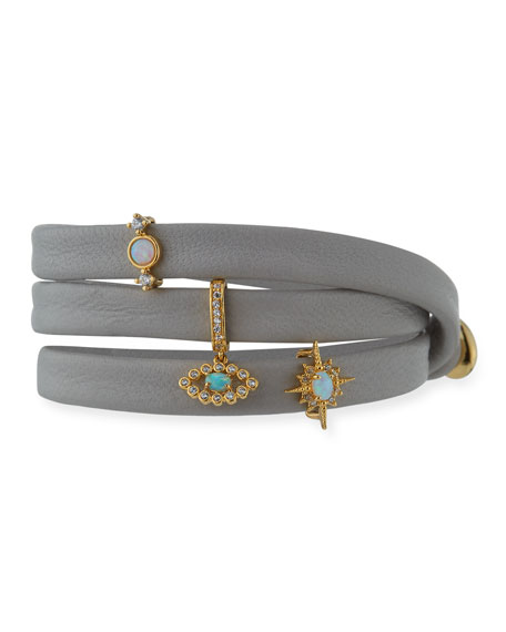 Leather Wrap Bracelet with Charms, Gray