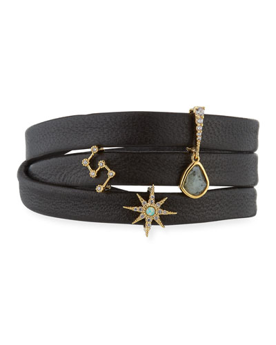 Leather Wrap Charm Bracelet, Black