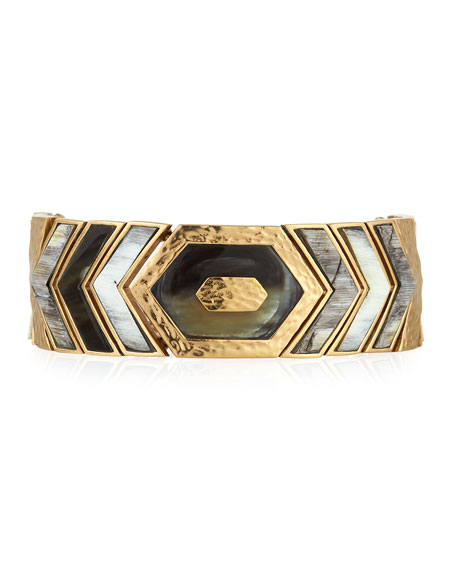Akola Hexagon Horizontal Bone & Horn Bracelet