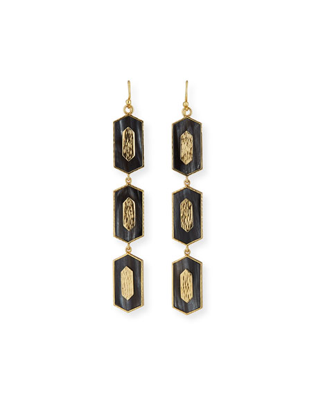 Hexagon Vertical Drop Earrings