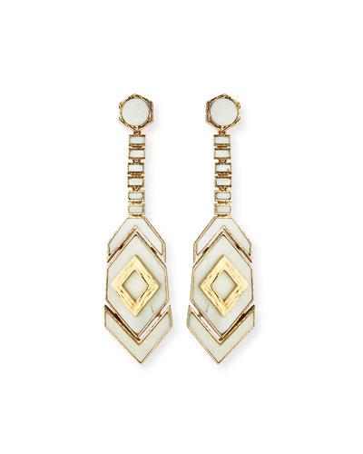 Hexagon Long Drop Earrings