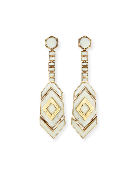 Hexagon Long Drop Earrings