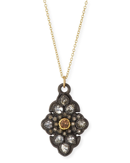 Old World Garnet & Diamond Scroll Pendant Necklace