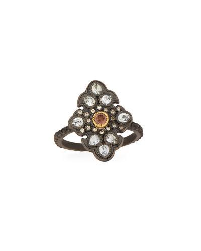 Old World Garnet & Diamond Scroll Ring, Size 6.5