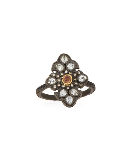 Armenta Old World Diamond Scroll Ring with Garnet 6b4CBM