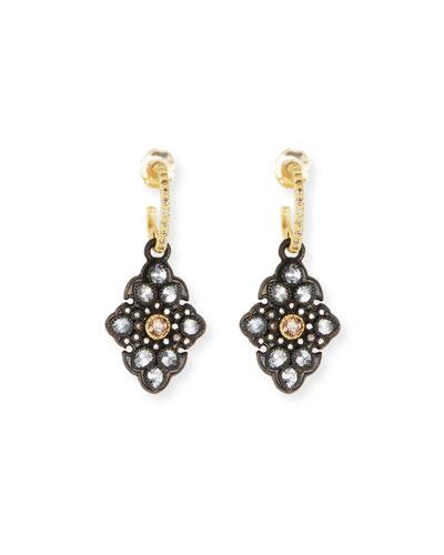 Old World Garnet & Diamond Scroll Drop Earrings