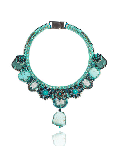 Beaded Turquoise Statement Necklace