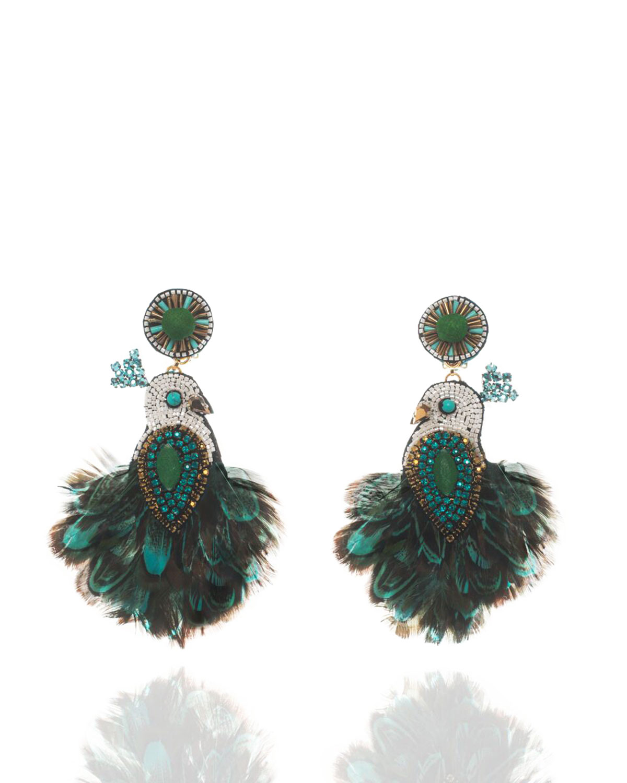 Beaded Tel Drop Clip On Earrings Emerald