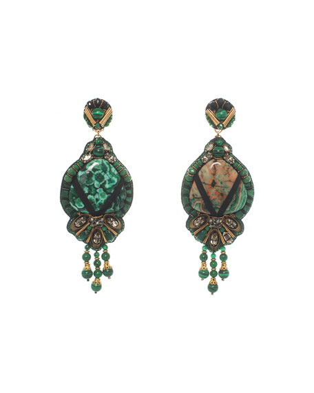 Ranjana Khan Beaded Tassel Drop Clip-On Earrings, Emerald