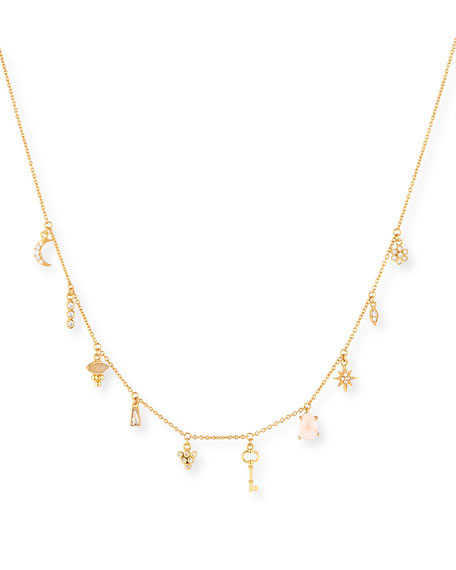 Moon & Star Crystal Charm Necklace