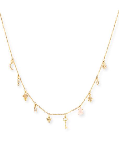 Moon & Star Crystal Charm Necklace