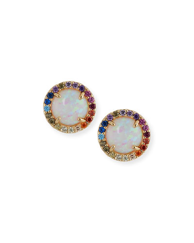 Opalescent Stud Earrings with Rainbow Halo