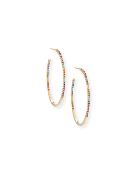 Pavé Rainbow Crystal Hoop Earrings