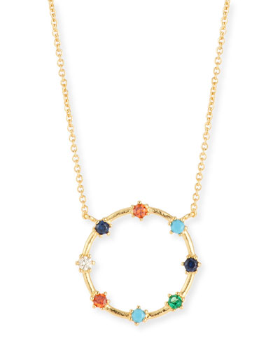Rainbow Crystal Open-Circle Necklace