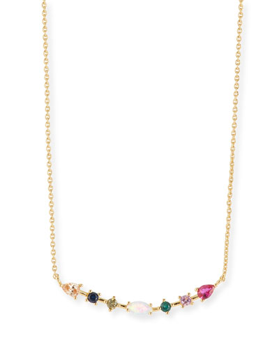 Rainbow Opalescent Bar Necklace